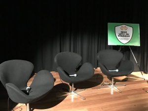 3 chairs, ready for the panel discussion